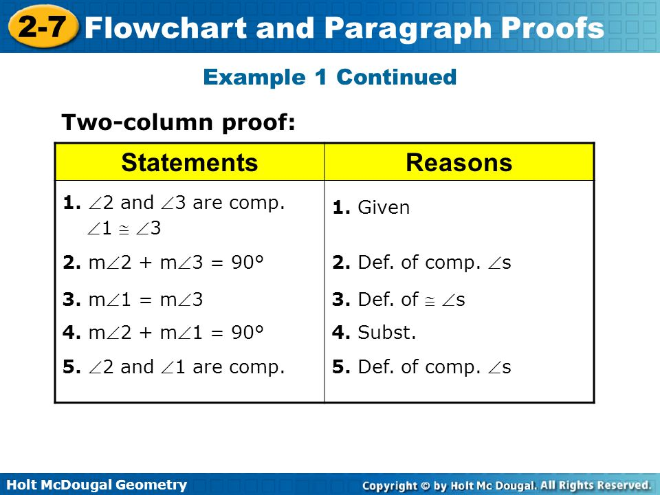 Statements Reasons Example 1 Continued Two-column proof: