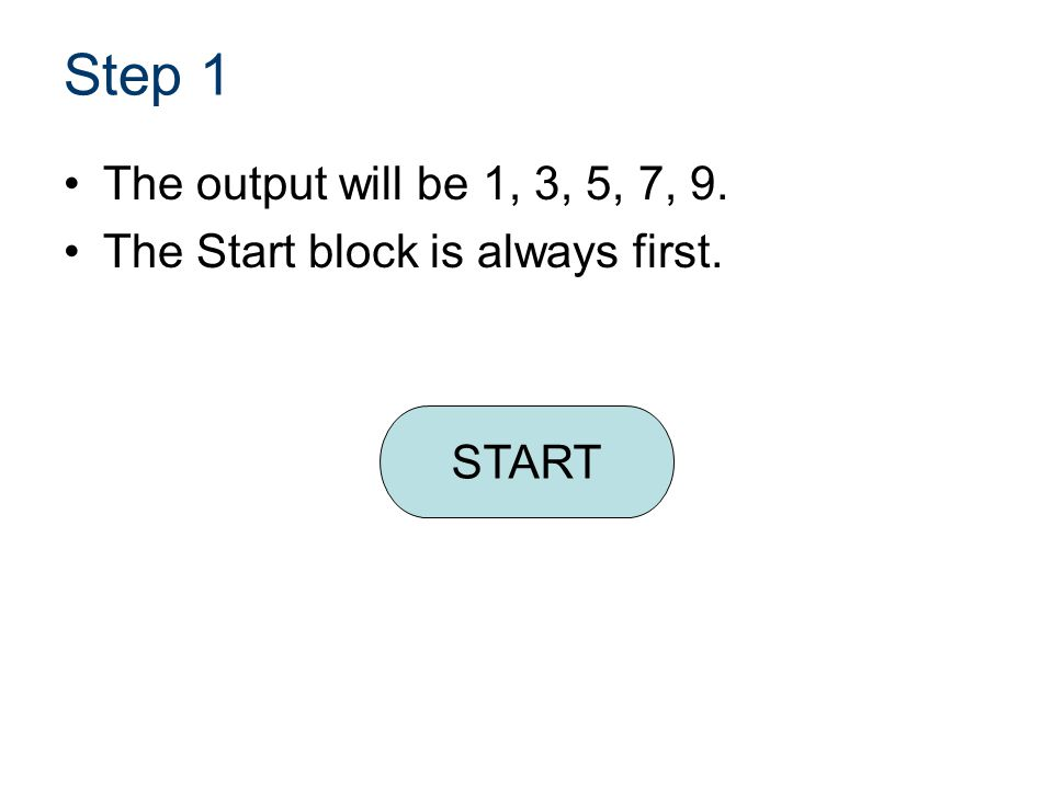 Name of PowerPoint CIM. Name of Lesson. Step 1. The output will be 1, 3, 5, 7, 9. The Start block is always first.