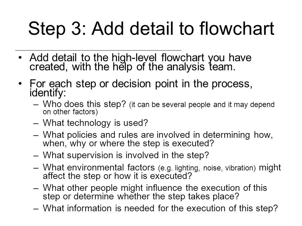 Step 3: Add detail to flowchart