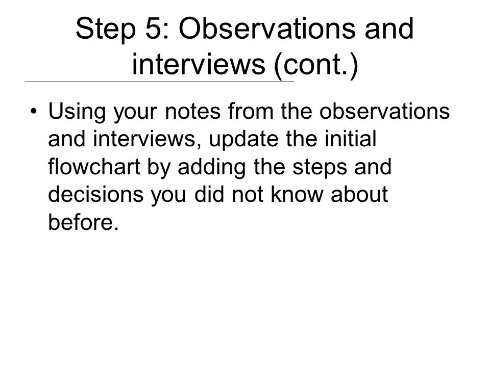 Step 5: Observations and interviews (cont.)