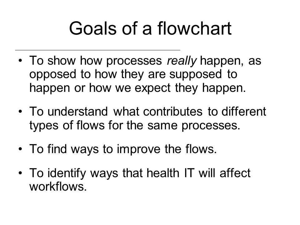 Goals of a flowchart To show how processes really happen, as opposed to how they are supposed to happen or how we expect they happen.