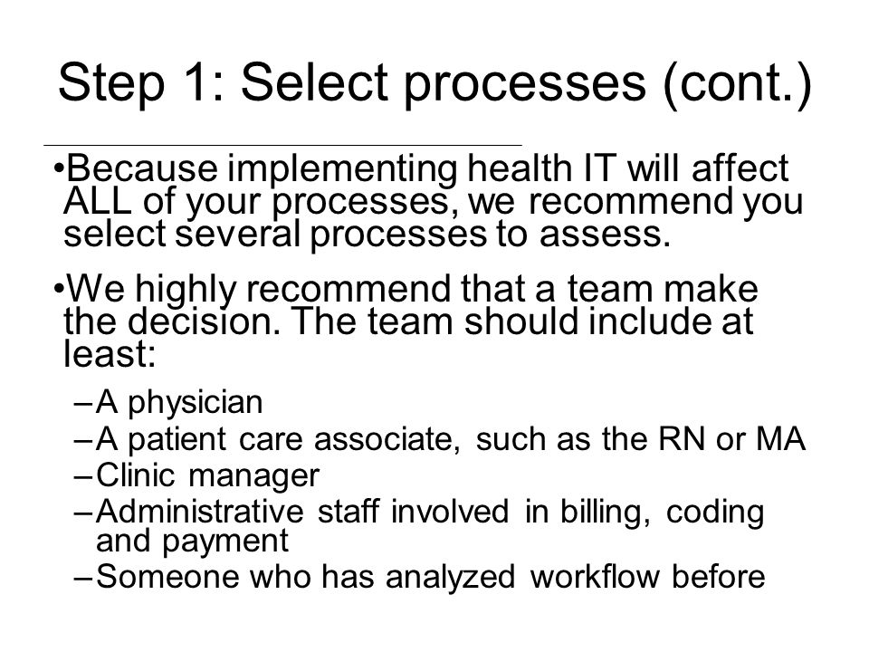 Step 1: Select processes (cont.)