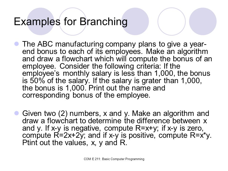 Examples for Branching