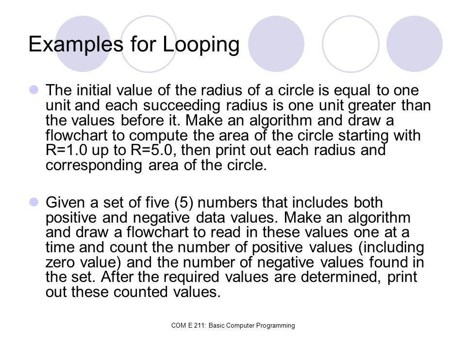 COM E 211: Basic Computer Programming