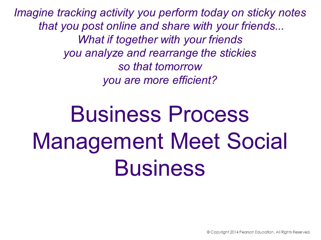 Imagine tracking activity you perform today on sticky notes that you post online and share with your friends... What if together with your friends you analyze and rearrange the stickies so that tomorrow you are more efficient Business Process Management Meet Social Business