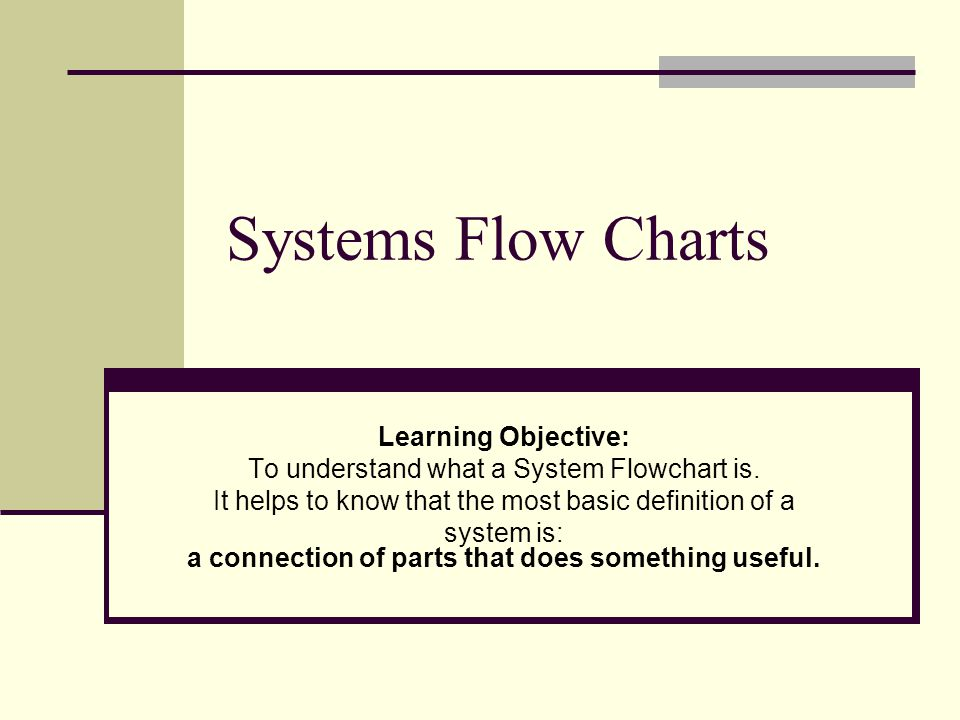 Systems Flow Charts Learning Objective Ppt Video Online Download
