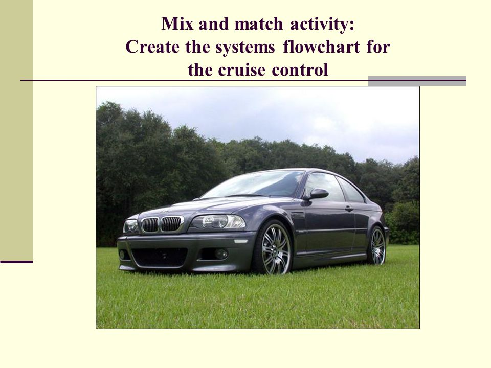 Mix and match activity: Create the systems flowchart for the cruise control