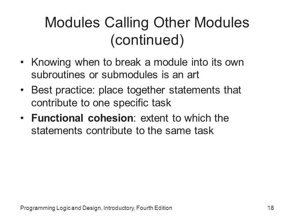 Modules Calling Other Modules (continued)