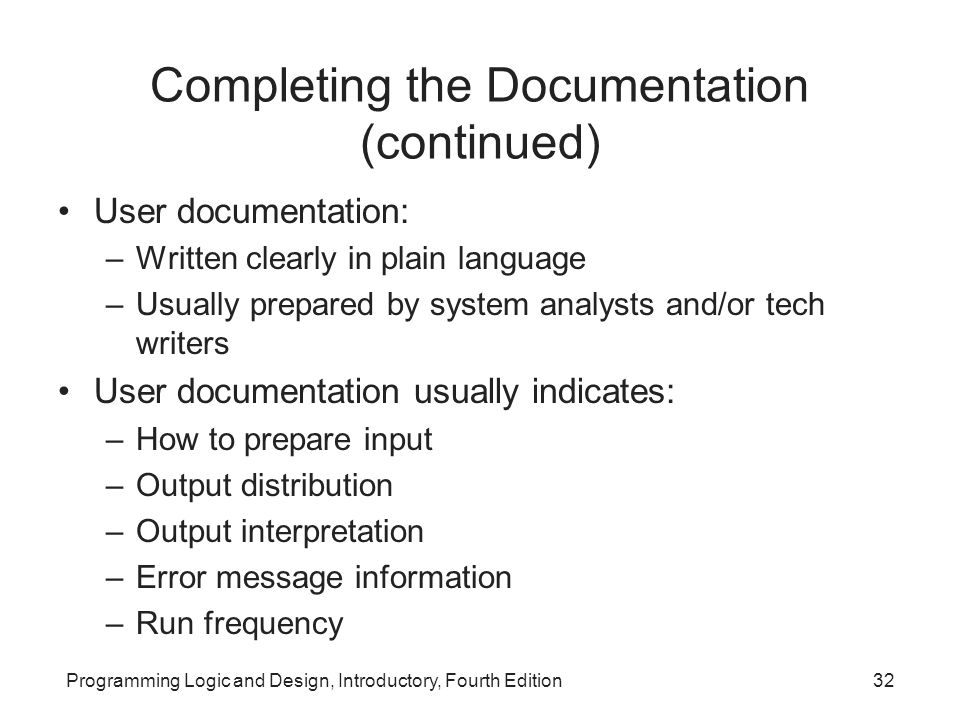 Completing the Documentation (continued)