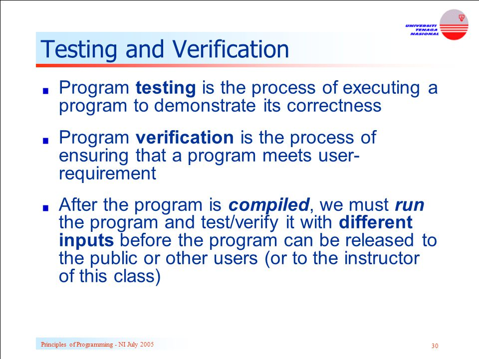 Testing and Verification