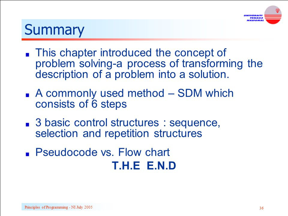 Summary This chapter introduced the concept of problem solving-a process of transforming the description of a problem into a solution.