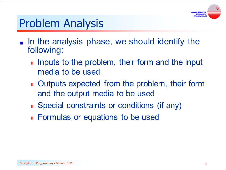 Problem Analysis In the analysis phase, we should identify the following: Inputs to the problem, their form and the input media to be used.
