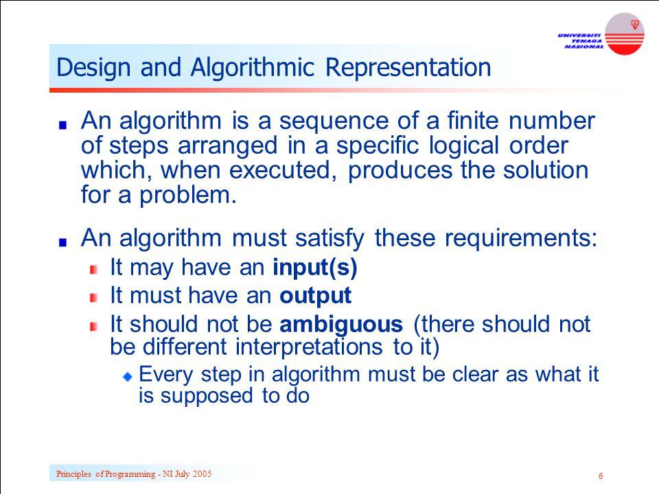Design and Algorithmic Representation