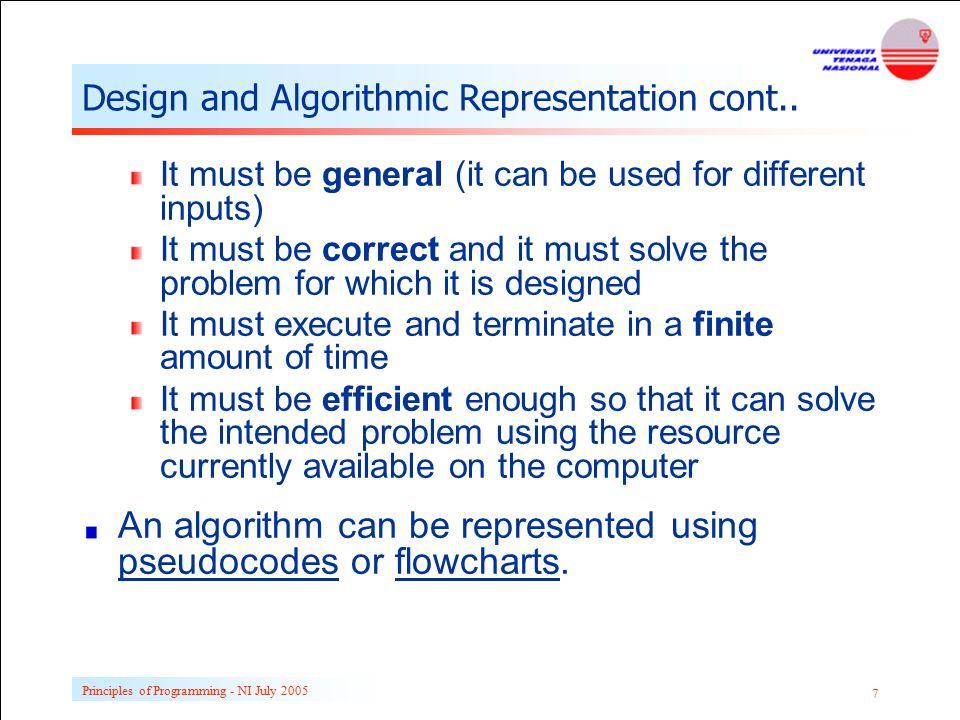 Design and Algorithmic Representation cont..
