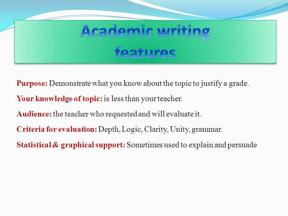 Academic writing features
