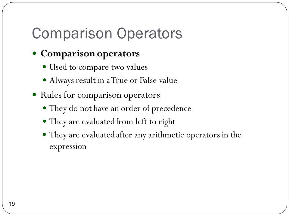 Comparison Operators Comparison operators