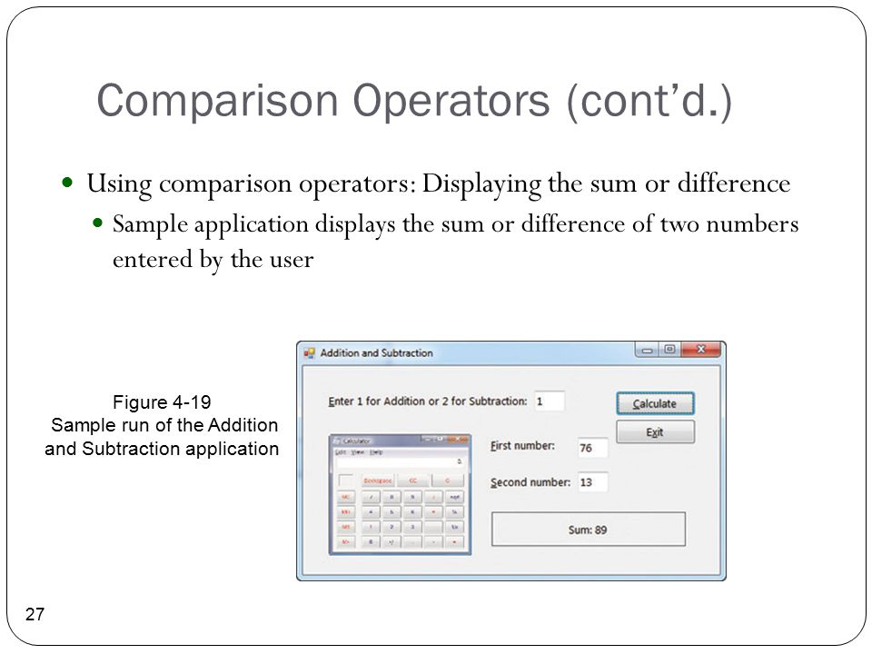 Comparison Operators (cont'd.)