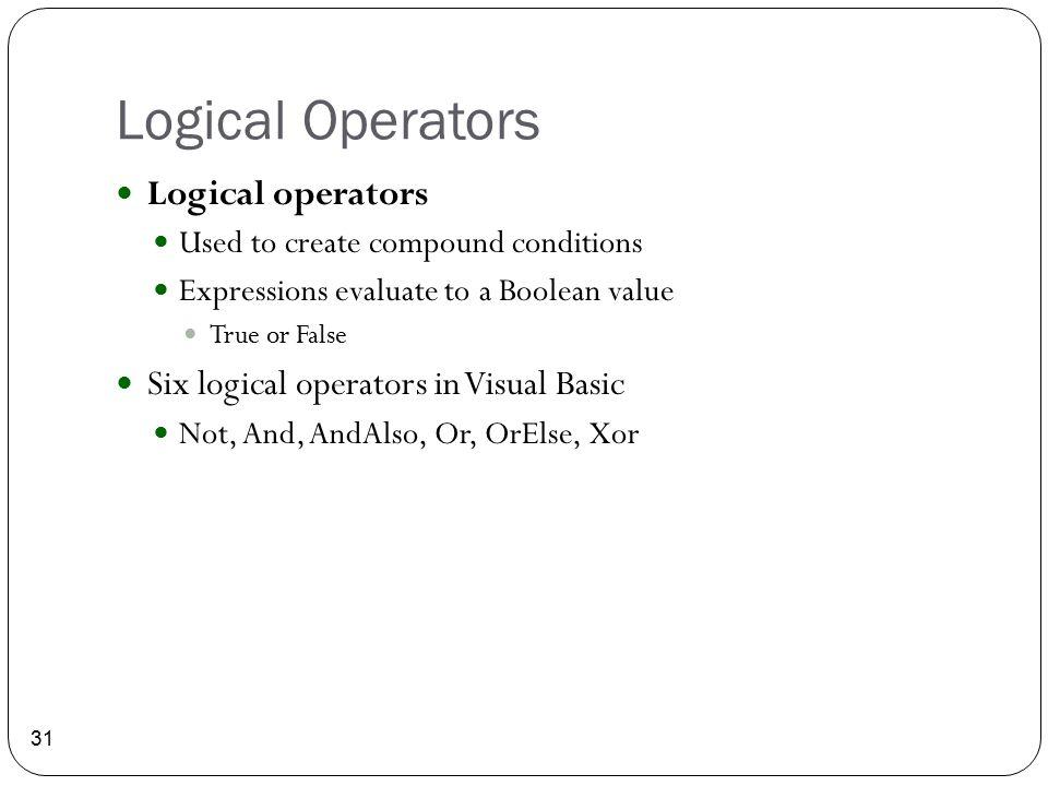Logical Operators Logical operators