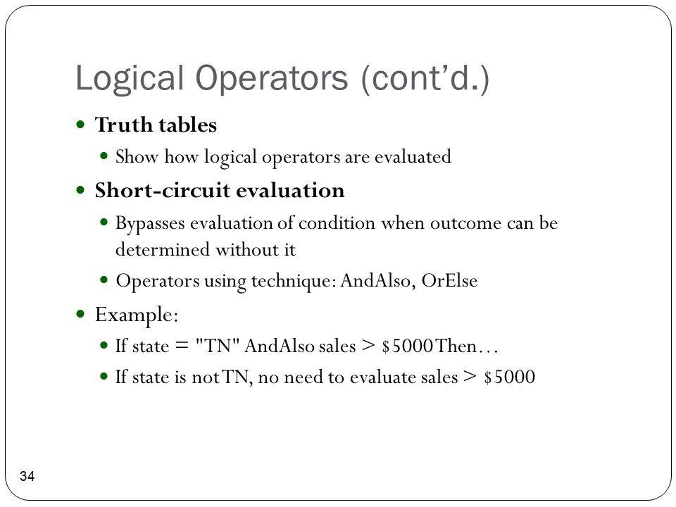 Logical Operators (cont'd.)