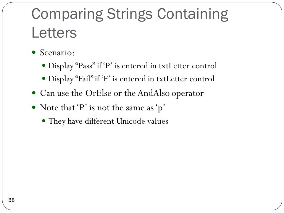 Comparing Strings Containing Letters