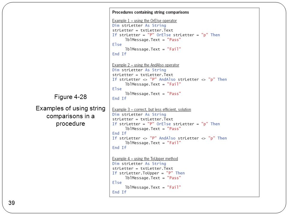 Examples of using string comparisons in a procedure