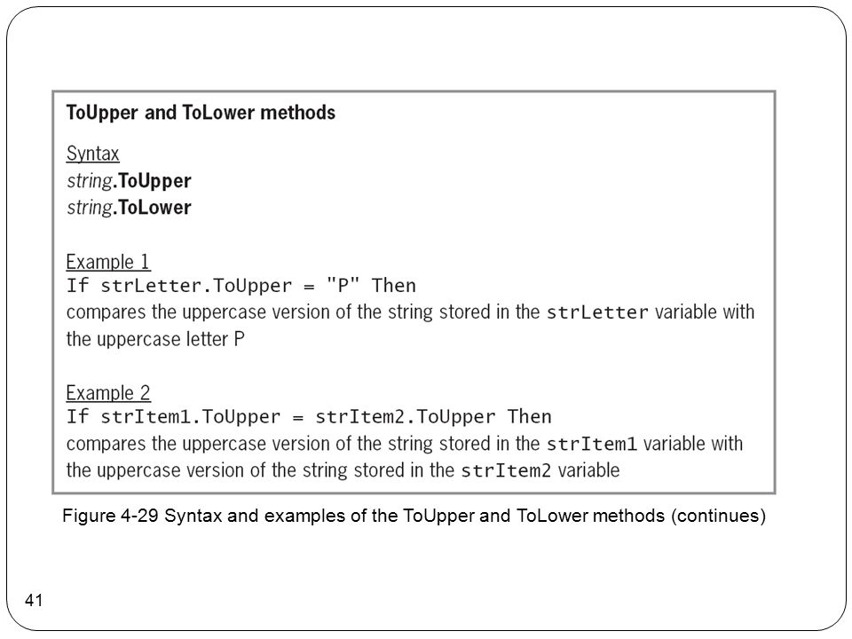 Figure 4-29 Syntax and examples of the ToUpper and ToLower methods (continues)