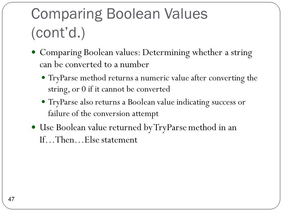 Comparing Boolean Values (cont'd.)