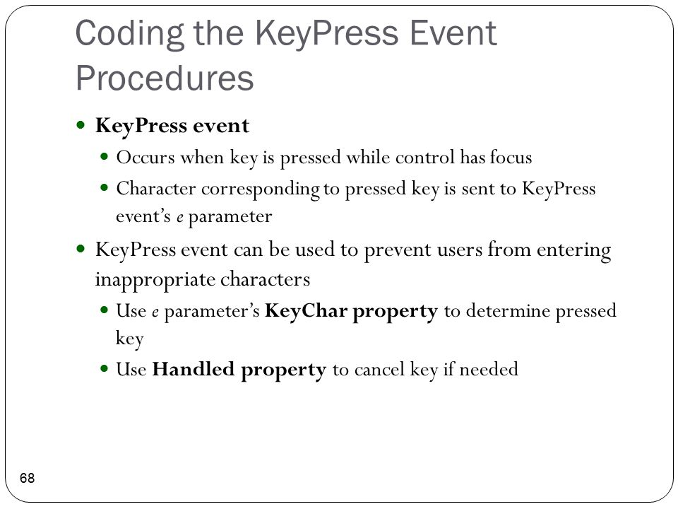 Coding the KeyPress Event Procedures