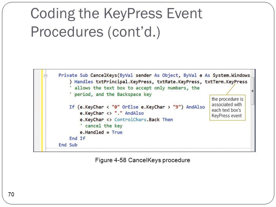 Coding the KeyPress Event Procedures (cont'd.)