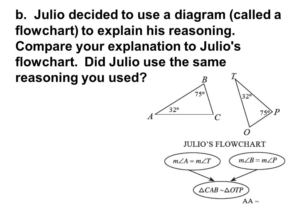 b. Julio decided to use a diagram (called a flowchart) to explain his reasoning.