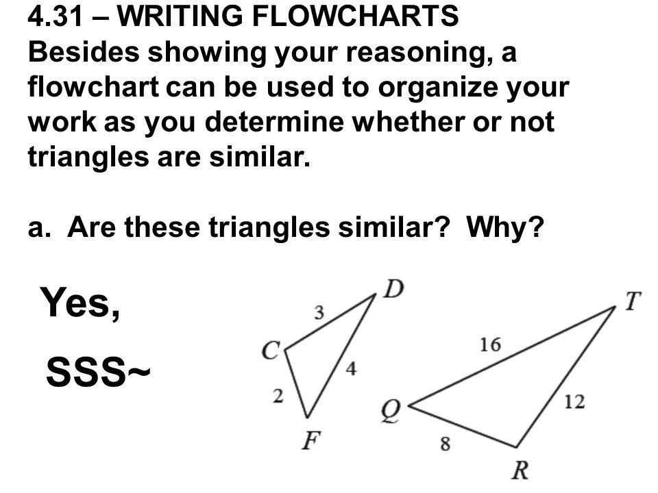 Yes, SSS~ 4.31 – WRITING FLOWCHARTS