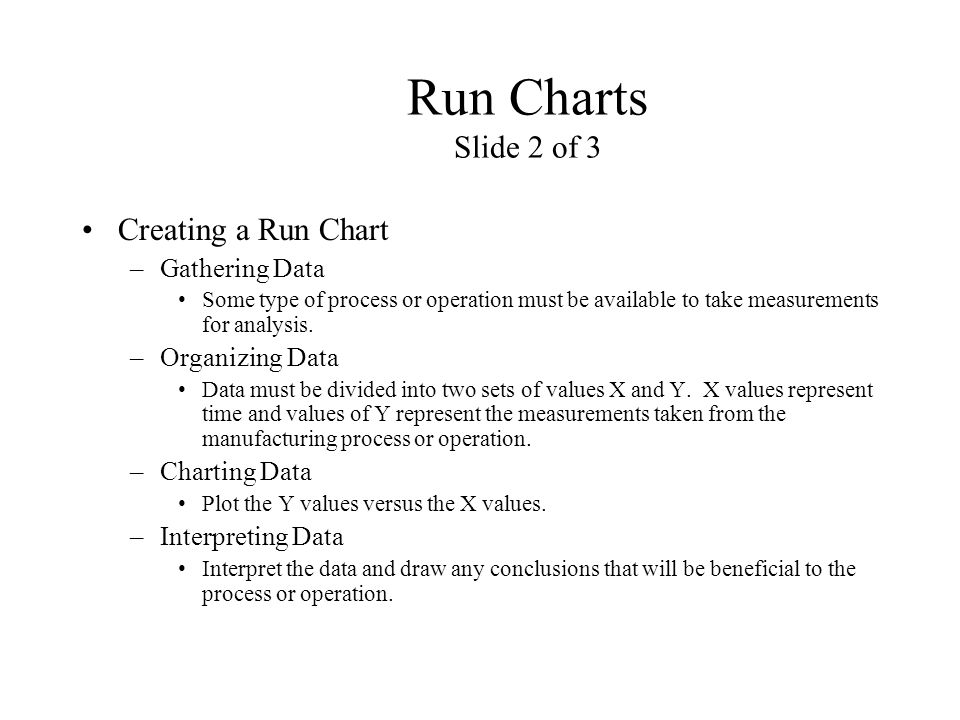 Run Charts Slide 2 of 3 Creating a Run Chart Gathering Data