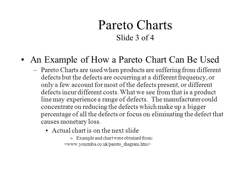 Pareto Charts Slide 3 of 4 An Example of How a Pareto Chart Can Be Used.
