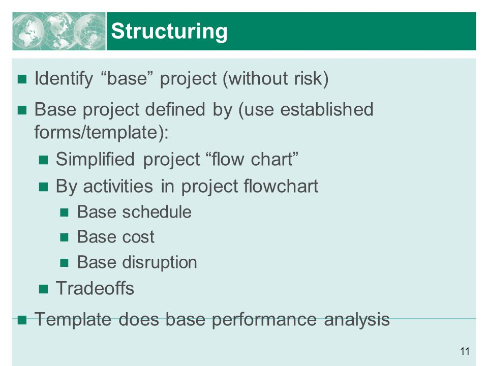 Structuring Identify base project (without risk)