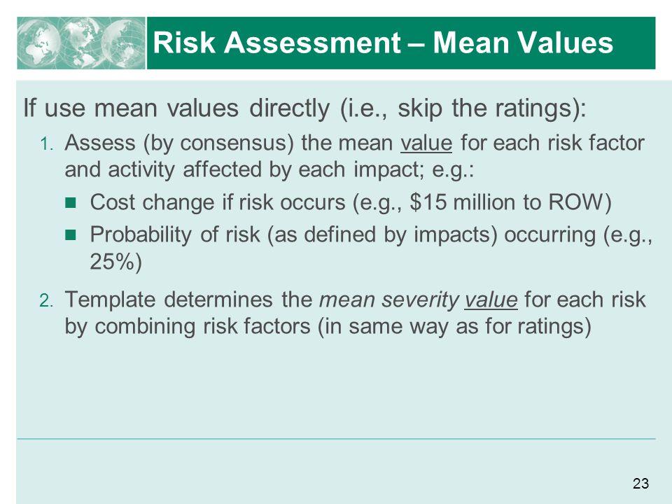 Risk Assessment – Mean Values
