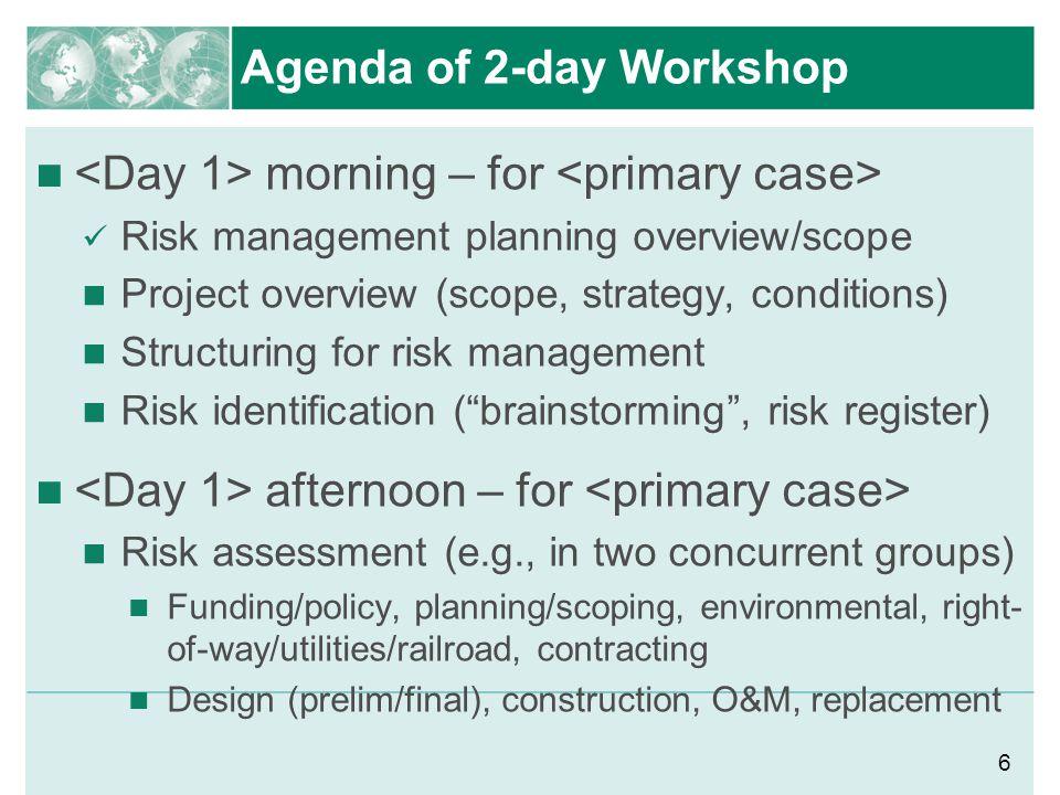 Agenda of 2-day Workshop