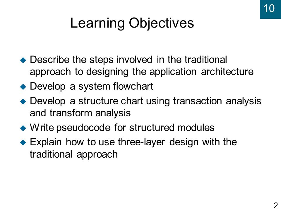 Learning Objectives Describe the steps involved in the traditional approach to designing the application architecture.