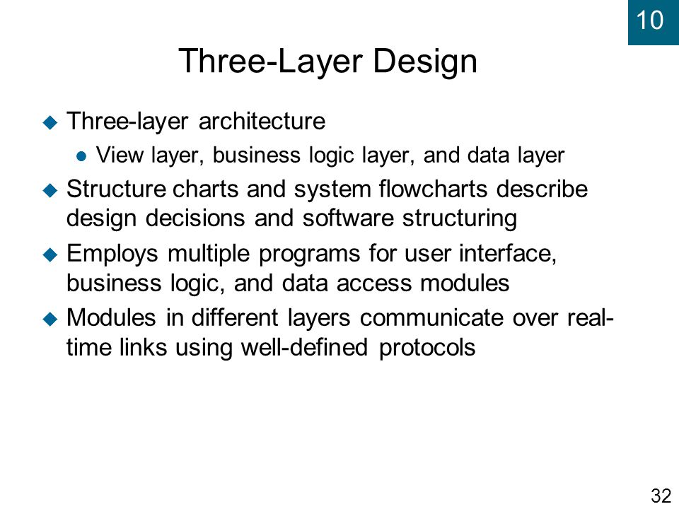 Three-Layer Design Three-layer architecture
