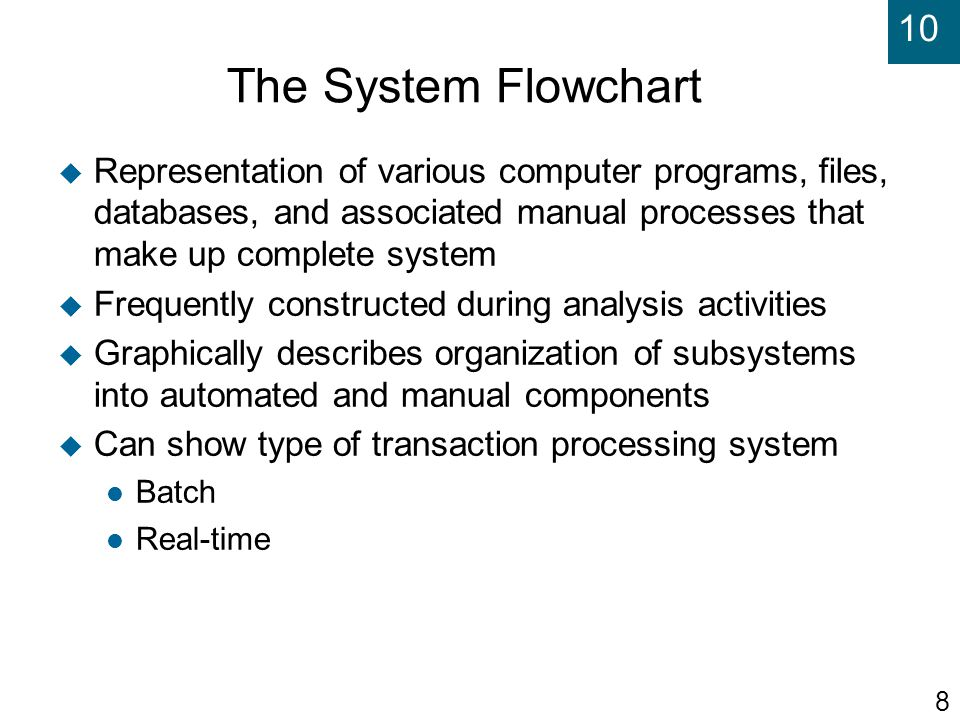 The System Flowchart Representation of various computer programs, files, databases, and associated manual processes that make up complete system.