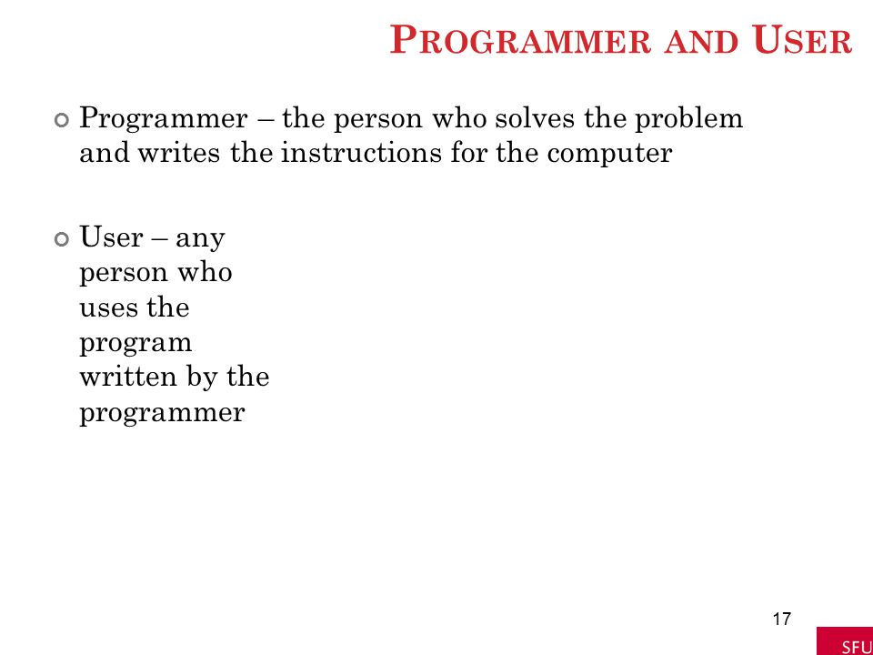 Programmer and User Programmer – the person who solves the problem and writes the instructions for the computer.