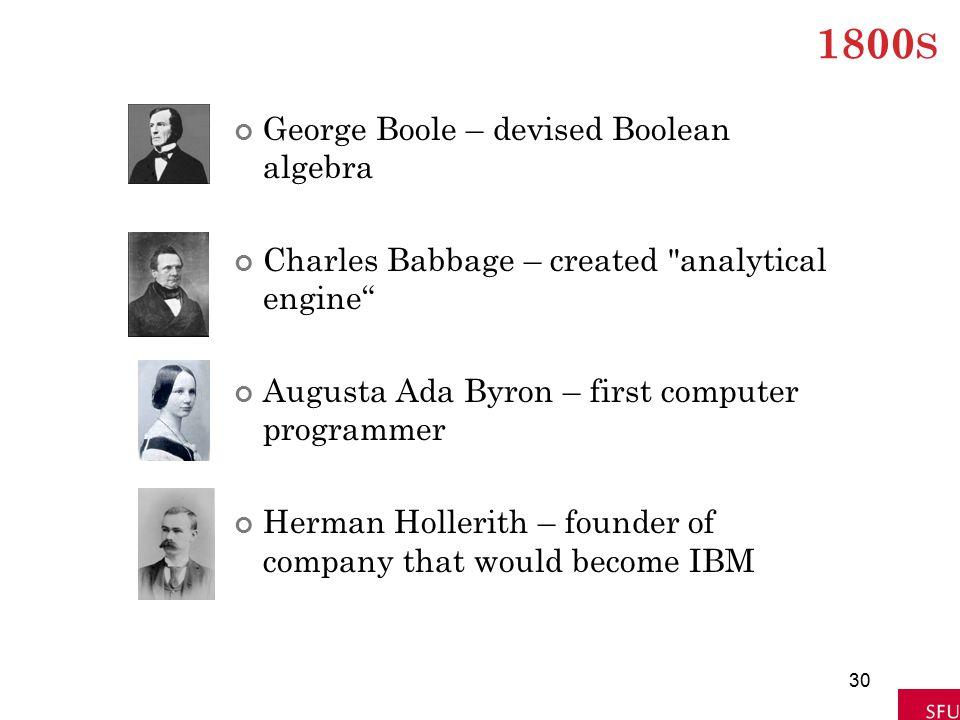 1800s George Boole – devised Boolean algebra