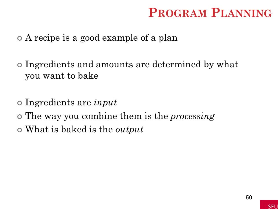Program Planning A recipe is a good example of a plan