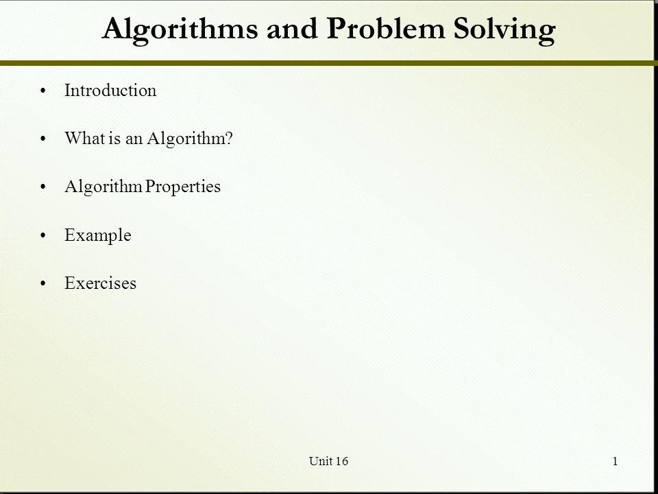 Algorithms and Problem Solving