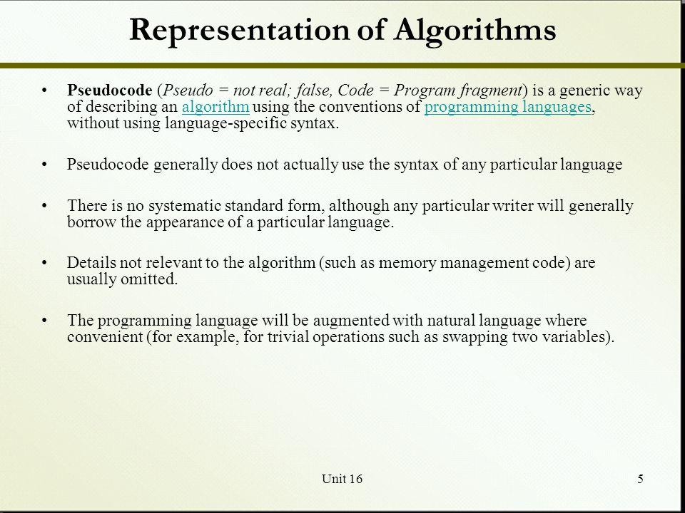 Representation of Algorithms