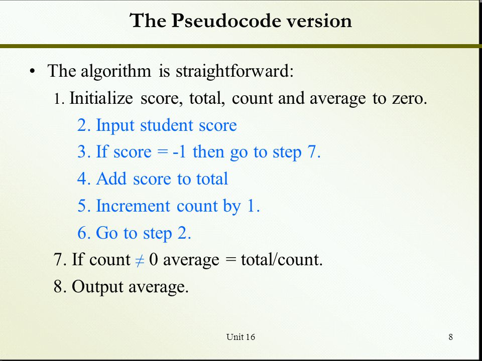 The Pseudocode version