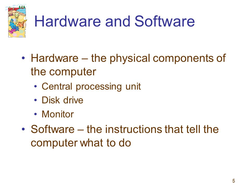 Hardware and Software Hardware – the physical components of the computer. Central processing unit.