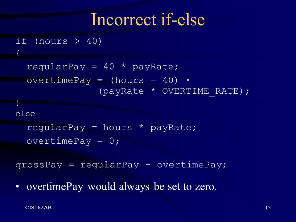 Incorrect if-else regularPay = 40 * payRate;