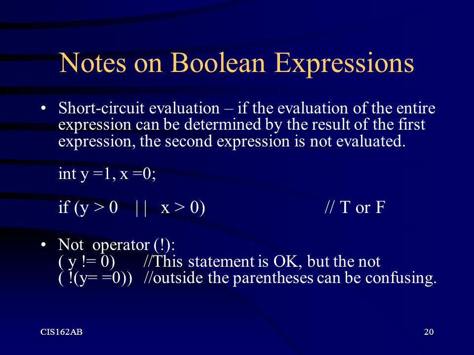 Notes on Boolean Expressions