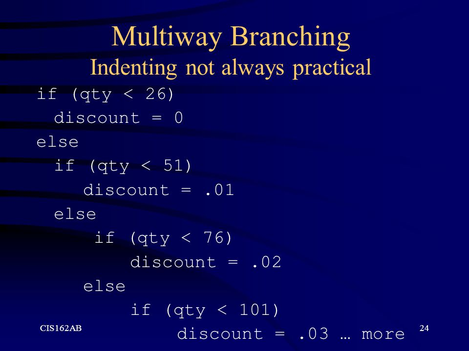 Multiway Branching Indenting not always practical