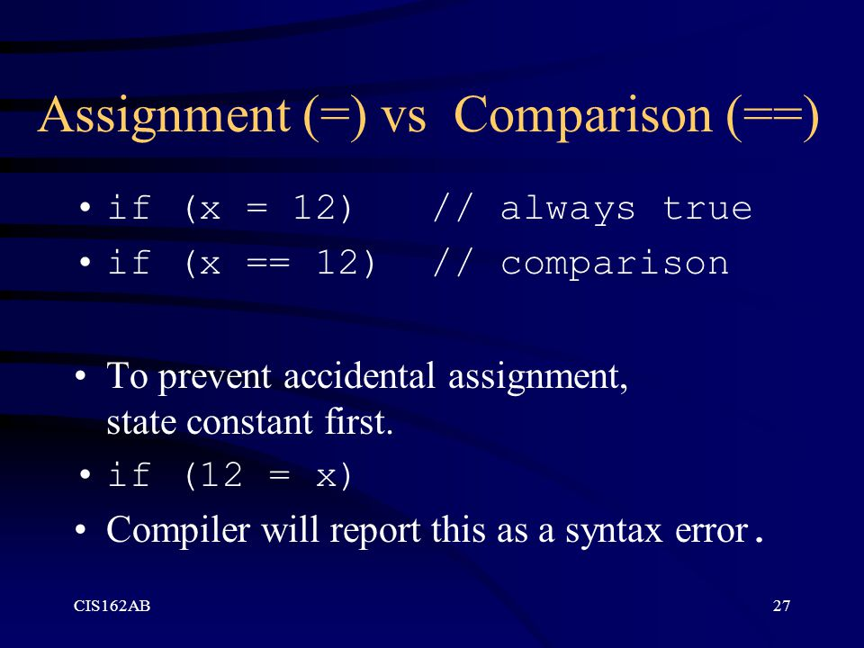 Assignment (=) vs Comparison (==)
